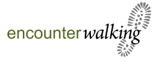 encouter walking logo working with edens yard backpackers